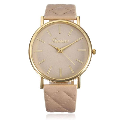 Franterd� Damen-Armbanduhr Elegant Uhr Modisch Zeitloses Design Klassisch Leder R�mische Ziffern-Leder-analoge Quarzuhr Armbanduhr Beige