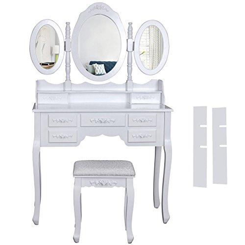 Songmics wei� luxuri�s gross Schminktisch mit 3 spiegel und hocker 7 schubladen 145 x 90 x 40 cm RDT91W