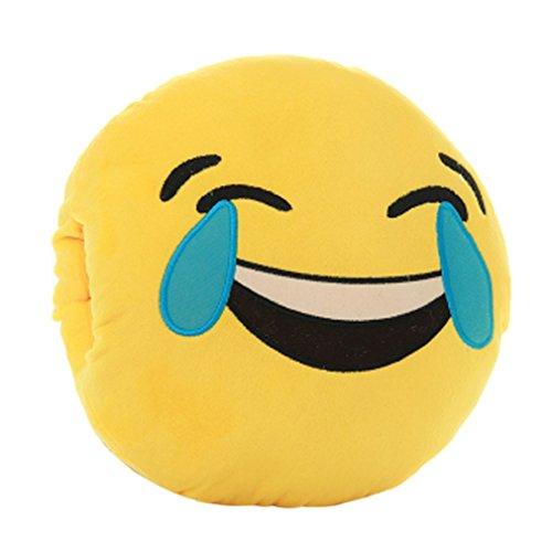 Tonsee Gelbe Runde weiche Emoji Smiley Emoticon gef�llte Pl�sch Spielzeug Puppe H�nden w�rmer Kissen Eingreifen Kissen, Lachen, Weinen