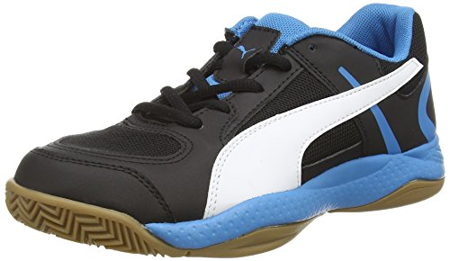 Puma Veloz Indoor II Jr, Unisex-Kinder Hallenschuhe, Schwarz (black-white-cloisonn� 01), 34 EU (1.5 Kinder UK)