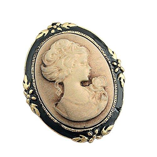 YAZILIND Jahrgang viktorianisches Design K�nigin Lady Cameo-Schwarz-Emaille Brosche Mode-Schmucksachen
