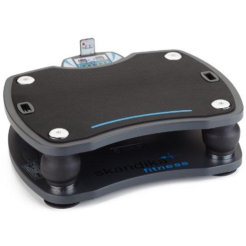 Skandika Home Vibration Plate 500, Profi Vibrationsger�t, inklusive Trainingsb�nder mit gro�er rutschsicheren Trainingsfl�che, Fernbedienung und kraftvoller 3D-Vibration, anthrazit/schwarz
