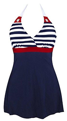 Gigileer Damen Frauen Badeanzug Bademode one Piece Marine Streifen Rock Shorts Rot XXXXL