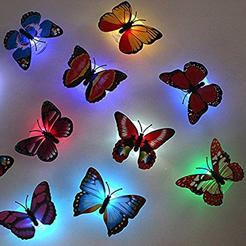 LyDecor 3D Schmetterling LED Nachtlicht Licht Wandaufkleber Wandtattoo f�r Kinderzimmer Babyzimmer Funktions Dekoration (Schmetterling Nachtlicht, 8pcs)
