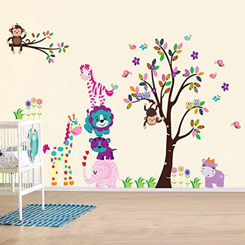 Walsplus Wand Sticker Aufkleber Papier Kunst Dekoration Fr�hliche Tiere Baum Kinderzimmer Deko