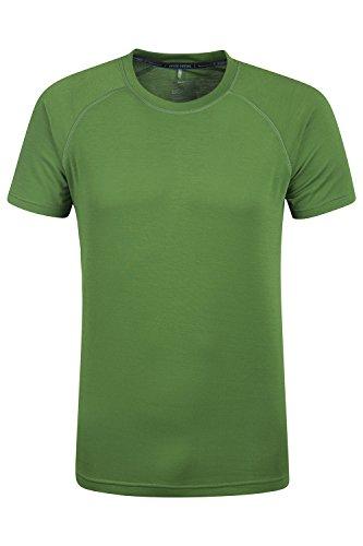 Mountain Warehouse District Herren technisches T-Shirt Base Layer schnell trocknend Funktionsshirt Sports Fitness Laufen Joggen Radfahren Dunkelgr�n Large