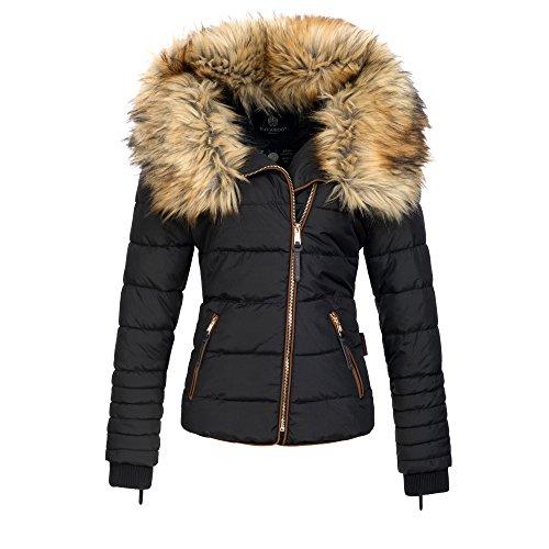 Navahoo AZU Damen Winter Jacke Parka Steppjacke gro�er Kunst-Fellkragen XS-XL, Gr��e:S;Farbe:Schwarz