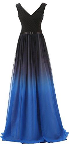 Eudolah Damen Abendkleider Partykleider Geburtstagkleider Bunte Tr?gerlos strapless Blau V Gr.54