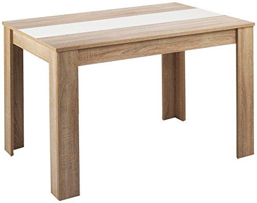 Cavadore 80252 Tisch Nico, 140 x 80 x 75 cm, Melamin Sonoma Eiche, mit Wendeplatte schwarz / wei�