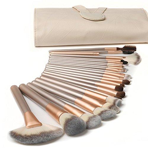 CDC� 18 St�ck Professionelle Kosmetik Make-up Pinsel Werkzeuge Kosmetik Make-up-Pinsel-Set mit Roll up PU-Leder Tasche Holzgriff