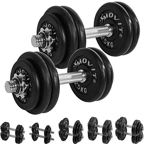 MOVIT� Gusseisen Kurzhantel 2er Set, Varianten 20kg, 30kg, 40kg, 50kg, 60kg, ger�ndelt mit Sternverschl�ssen