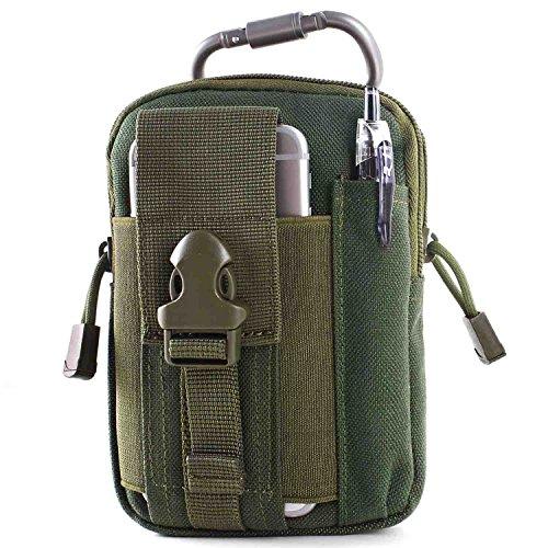 Unigear Taktische H�fttaschen Molle Tasche G�rteltasche MOLLE Beutel Milit�r Ideal f�r Outdoorsport Multifunktionen Praktische Ausr�stung mit Extrafreiem Aluminiumkarabiner (Dunkelgr�n)