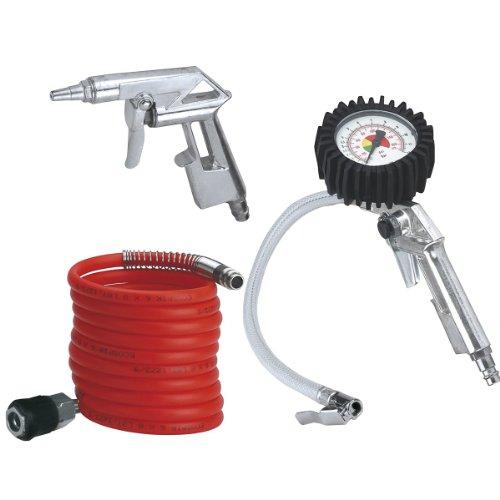 Einhell Druckluft Set, 3-teilig passend f�r Kompressoren (4 m Spiralschlauch, Reifenf�llmesser, Ausblaspistole kurz)