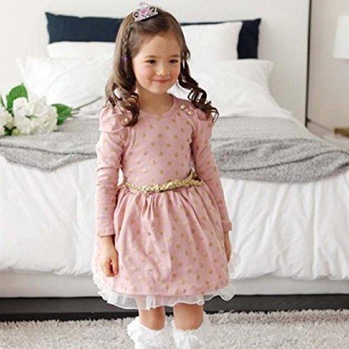 Vovotrade M�dchen Punkt-Spitze-Party-Geburtstags-G�rtel Kinderkleidung Prinzessin Kleider (Rosa, Size:100)