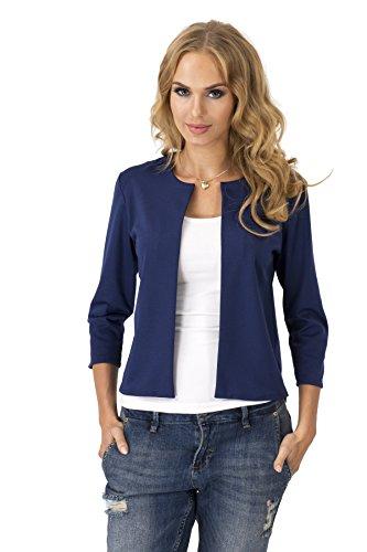 Damen Blazer Kurzjacke Jacke in 6 Farben Gr. S M L XL, 36 38 40 42, M139 Dunkelblau XL/42