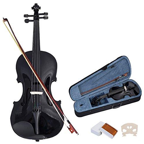 Violinen Geigen Set 4/4 Koffer + Bogen + Zubeh�r Kolofonium aus Holz f�r Anf�nger (Schwarz)