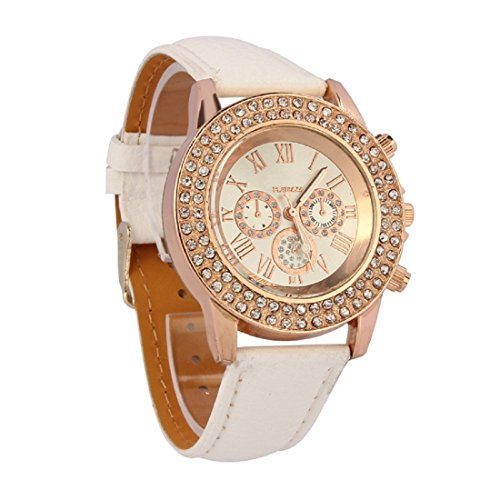 Amonfineshop(TM)Vogue-Frauen-Damen Kristall Zifferblatt Quarz Analog Leder Armband Armband uhr wei�