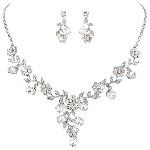 Ever Faith �sterreichischen Kristall Bl�tter Blume Form elegant Braut Halskette mit Ohrring Anh�nger Schmuck-Set klar Silber-Ton N03848-1