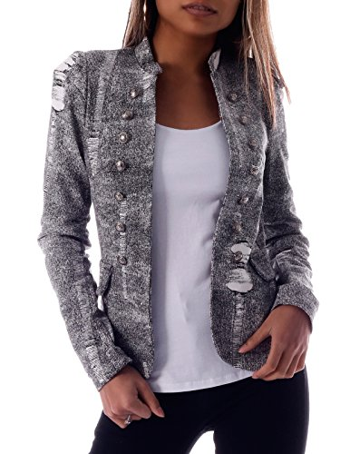 Damen Blazer Long Blazer Retro Pop Military Gehrock (M = 36, Grau Weiss)