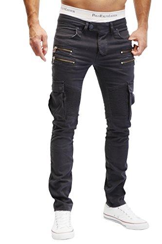 MERISH Herren Bikerchino Jeanshose Denim Chino Zipper BeintaschenTrend Jeans Hose Neu J2055 Anthrazit W34