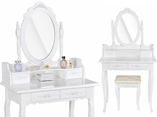 Schminktisch inkl Spiegel Hocker Kosmetiktisch Frisiertisch Frisierkommode #2809