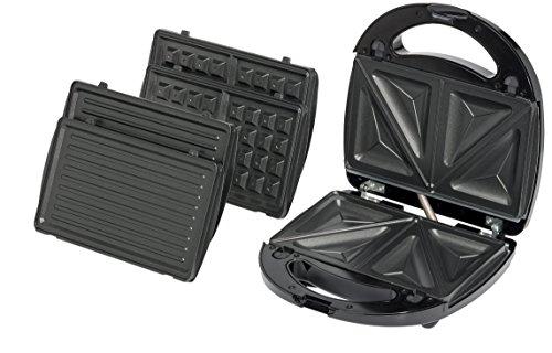 MEDION (MD 15365) Sandwich Maker, auswechselbaren Platten, Leistung max. 750 Watt, antihaftbeschichtete Backplatten, �berhitzungsschutz, rutschfeste Gummif��e, schwarz