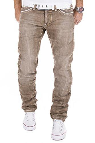 AMICA by MERISH Herren Jeans Straight Fit Destroyed Blue Jeans J9653b Braun 36/32