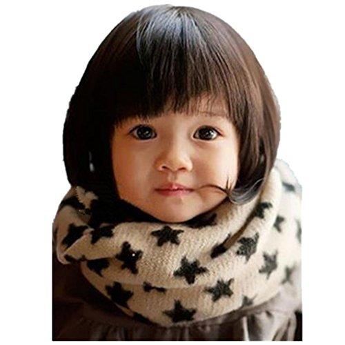 Schals Longra Winter s��e coole neue L�tzchen Baby Kinder M�dchen Jungen Schnee Sterne Design stricken Wolle Schal (22x18cm/8.66x5.9inch, 1-10 Jahre) (Beige)