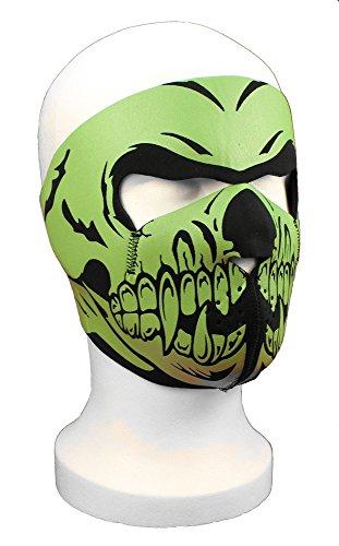 Neopren Maske Totenkopf Skull gr�n 2,5mm stark Gesichtsschutz f�r Motorrad, Skisport usw.