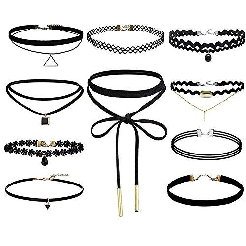 Morelian 10 St�ck Hoker Halskette Velvet Spitze Choker Halsketten Tattoo Punk Gothic Halsband, Schwarz