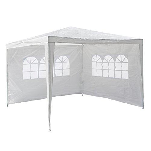 Nexos GM36090 PE-Pavillon Partyzelt mit 2 Seitenteilen f�r Garten Terrasse Markt Camping Festival als Unterstand und Plane, wasserdicht 3 x 3 m wei�
