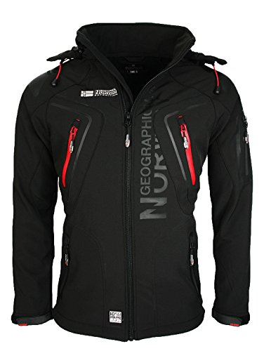 Geographical Norway Herren Softshell Funktions Outdoor Jacke wasserabweisend [GeNo-5-Schwarz-Gr.XL]