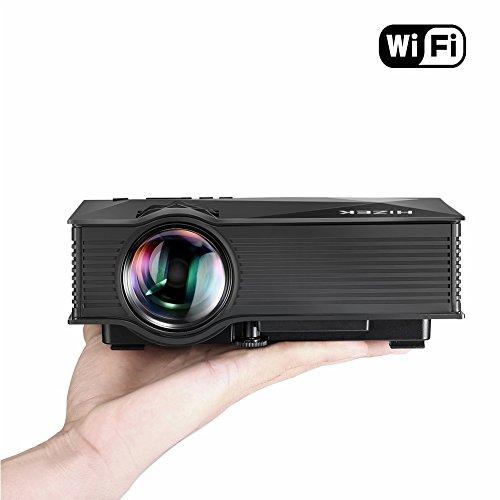 WiFi Beamer, BlitzWolf Mini Projektor mit 1200 Lumens LED Multimedia Heimkino Home Cinema Theater f�r Telefon / Laptop / PC / SD Karte / Play Station / TV Box / Xbox / USB Disk (Schwarz)