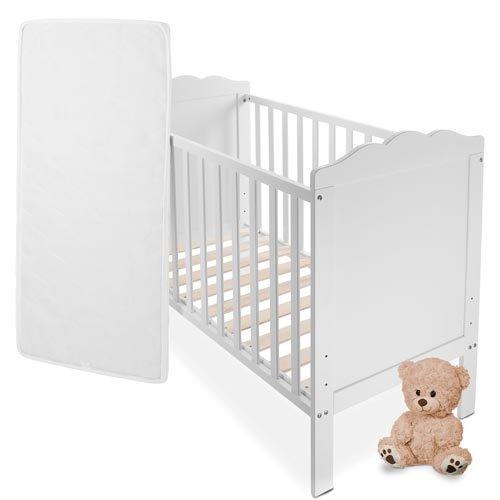 Babybett Kinderbett Komplettbett in Weiss mit Lattenrost und Matratze aus Naturfasern