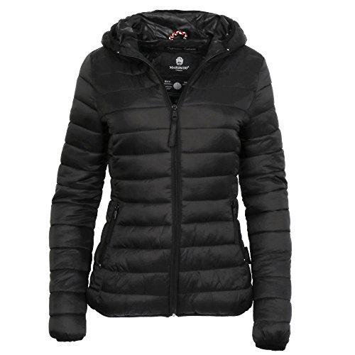 Marikoo MASCARA Damen Jacke Steppjacke �bergangsjacke Kapuze gesteppt XS-XXL, Gr��e:S - 36;Farbe:Schwarz
