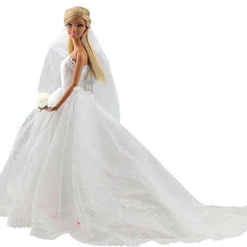 Abendkleid Spitze Zug Kleidung Kleider Brautkleid Ballkleid mit Brautschleier f�r Barbie Puppen