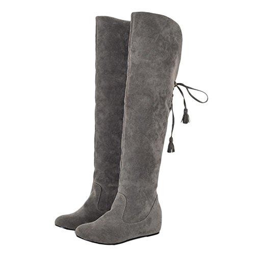 MissSaSa Damen keilabsatz innen Absatz Nubuck Langschaft Stiefel (34, Grau)