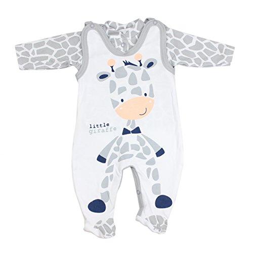 Baby Strampler mit Spruch I love Mum and Dad oder mit Aufdruck 2-tlg. Stramplerset mit Oberteil, Farbe: Giraffe, Gr��e: 68