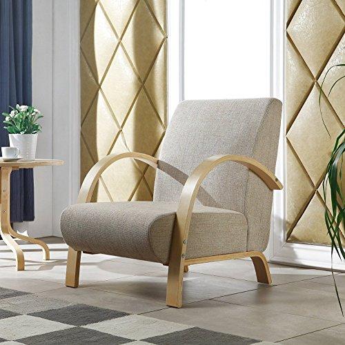 i-flair� - Polstersessel, Lounge Sessel mit hochwertigem gepolsterten Stoffbezug - Hellgrau Natur