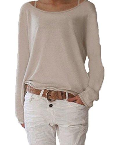 Yidarton Damen Langarm T-Shirt Rundhals Ausschnitt Lose Bluse Hemd Pullover Oversize Sweatshirt Oberteil Tops (Beige, L)
