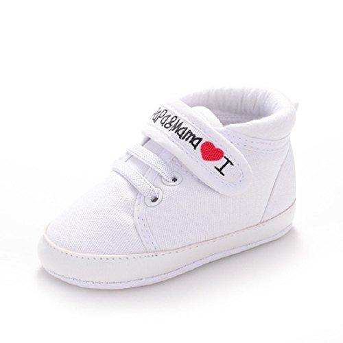 Amison Niedlich Baby S�ugling Kind Junge M�dchen weiche Sohle Leinwand Sneaker Kleinkind Schuhe (0-6 Monate, Wei�)