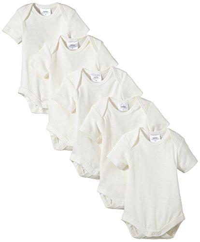 Twins Unisex Baby - Kurzarm-Body aus Bio Baumwolle im 5er Pack, Einfarbig, Gr. 62, Off White (snow white)