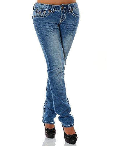 Damen Jeans Straight Leg (Gerades Bein Dicke N�hte Naht 17 Farben) No 12923, Gr��e:38;Farbe:Blau