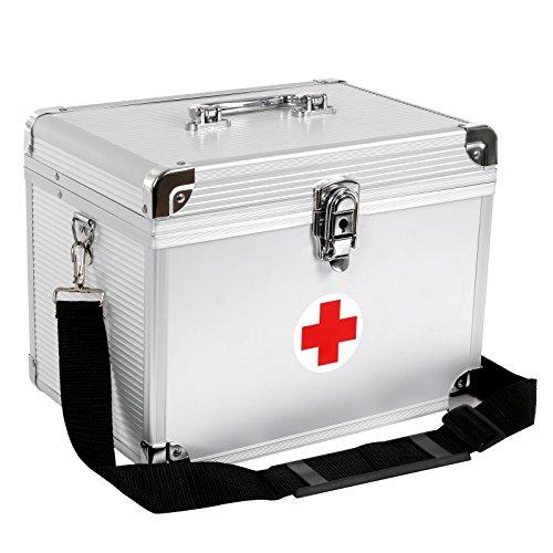 Songmics Erste Hilfe Koffer Medizin-Box Aufbewahrungsbox Medikamentenbox Arzneimittel-Box Medizinbeh�lter mit Tragegriff Tragegurt Aluleisten ABS silbrig JBC361S