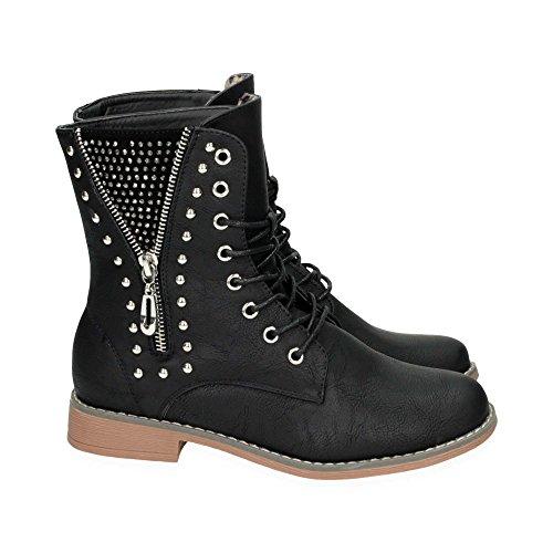Damen Schn�r Stiefel mit Blockabsatz | Biker Boots im bequemen und modischen Design | Nieten Stiefeletten Schuhe | Gr. 36 bis 41 | Japanolo | Schwarz EU 41