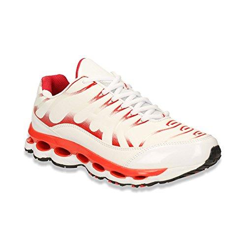 Herren Sneaker Sportschuhe Lauf Freizeit Lack Runners Fitness Low Schuhe Weiss/Rot EU 41