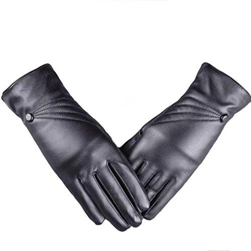 Ularmo Super warme und Touchscreen, Damen Luxuri�se PU-Leder Winter Handschuhe Cashmere.Autofahrer-Handschuhe,Schifahren
