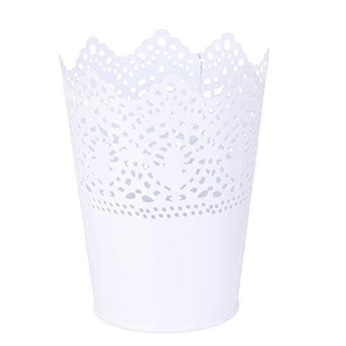 Metall Schneiden Pflanze Vase Topf Stift Make-up B�rstenhalter Schreibtisch Ordentlich Organizer Veranstalter Aufbewahrungskorb - Weiss
