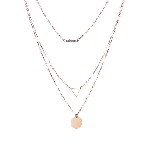 Damen Halskette Kettchen Schlicht h�hlt Triangle Pailletten geb�rdelte mehrschichtige Ketten
