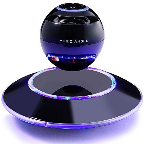 MUSIC ANGEL Lautsprecher der Magnetschwebe mit Bluetooth 4.0 Multifarben LED kabellos 360 Grad mit den Mikrofon (schwarz)